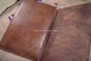 pochette macbook en cuir, etui pour tablette ou ordinateur portable, cousu main