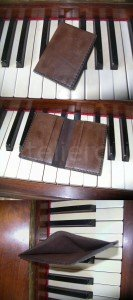 porte cartes  en cuir marron cousu main