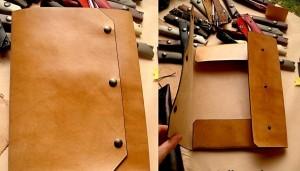 pochette porte-documents en cuir travail du cuir, maroquinerie artisanale