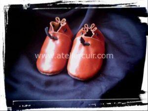 chausson pour bébé en cuir