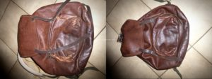 Réparation d'un sac à dos en cuir, pochette décousue