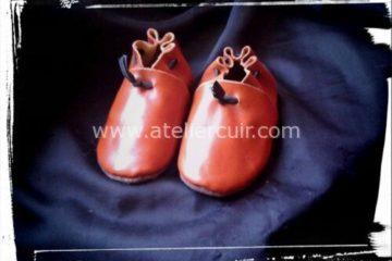 chaussons pour bébé en cuir tannage végétal