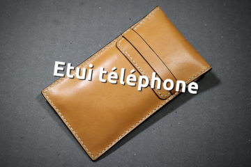 Etui téléphone en cuir cousu main au point sellier - ateliercuir.com - Tithouan