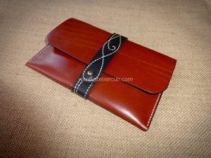 porte-passeport décore en cuir maroquinerie